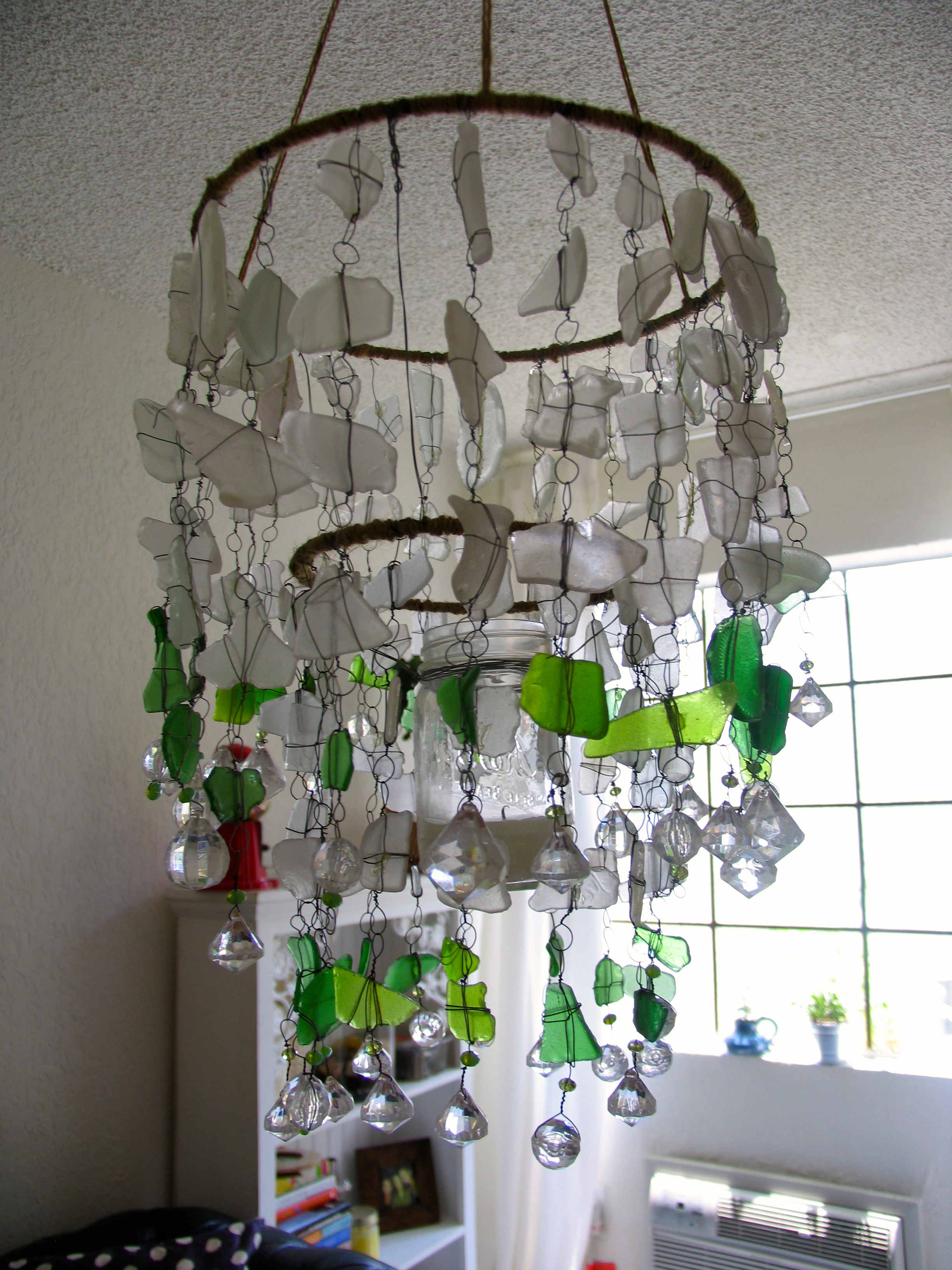Sea glass chandelier ecospired diy sea glass chandelier by ecospired aloadofball Choice Image