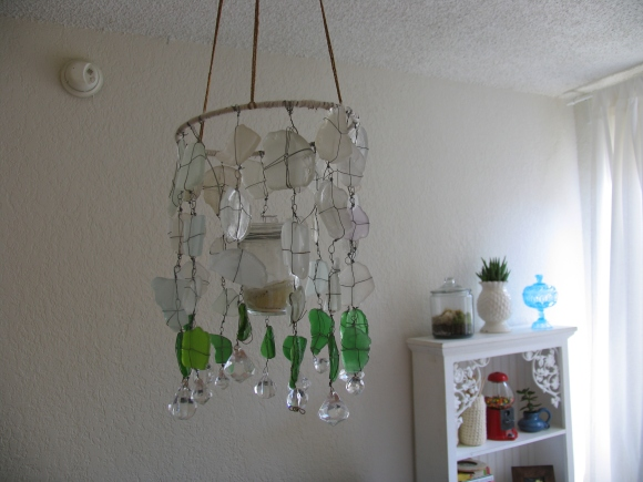 DIY Sea Glass Chandelier by Ecospired.com