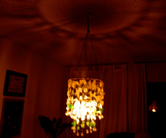 my sea glass chandelier at night.