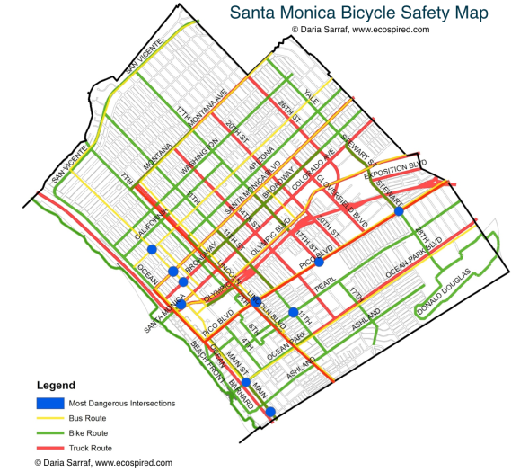 Santa Monica Bike Safety Analysis Map.