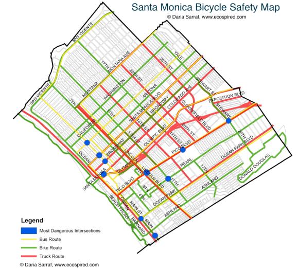 Santa Monica Bike Safety Analysis Map.